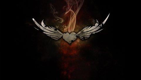 сердце, дым, крылья, черный фон