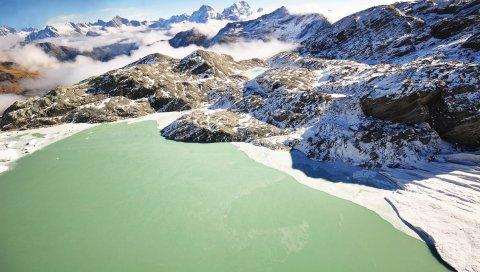 озеро, горы, лед, зеленый, холодный , пленение, зима, туман, поверхность