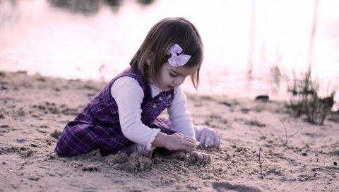 ребенок, девушка, песок, играть