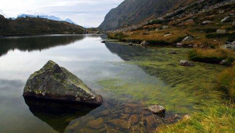 Горы, озеро, камни, водоросли, под водой, блоки