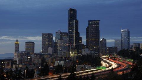 Сиэтл, горизонт, ночь, здание, мост, дорога
