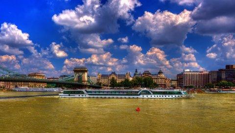 Облака, город, мост, дом, лодка