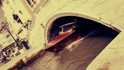Лодка, мост, море, венеция