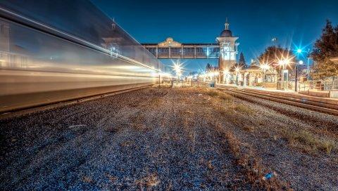Город, ночь, свет, станция