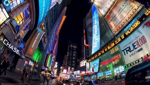 Город, здания, вечер, здание, реклама, люди, движение