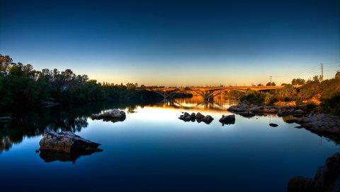 Мост, озеро, трава, деревья, небо, лето