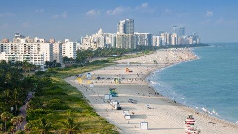Майами, пляж, здания, песок