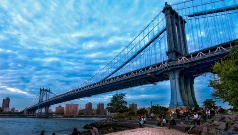 Мост Манхэттен, мост, город, Нью-Йорк, hdr