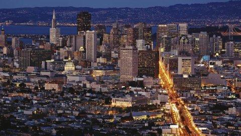 Сан-Франциско, вид сверху, панорама, ночь, здание