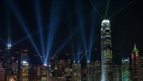 Китай, Гонконг, ночь, мегаполис, здания, огни, небоскребы