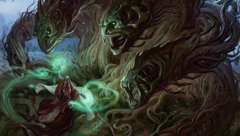 Волшебник, колдун, монстры, деревья, лес