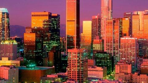 Лос-Анджелес, небоскребы, огни, здания, многоэтажные