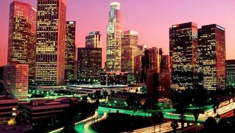 Лос-Анджелес, небоскребы, ночь, дорога, мегаполис