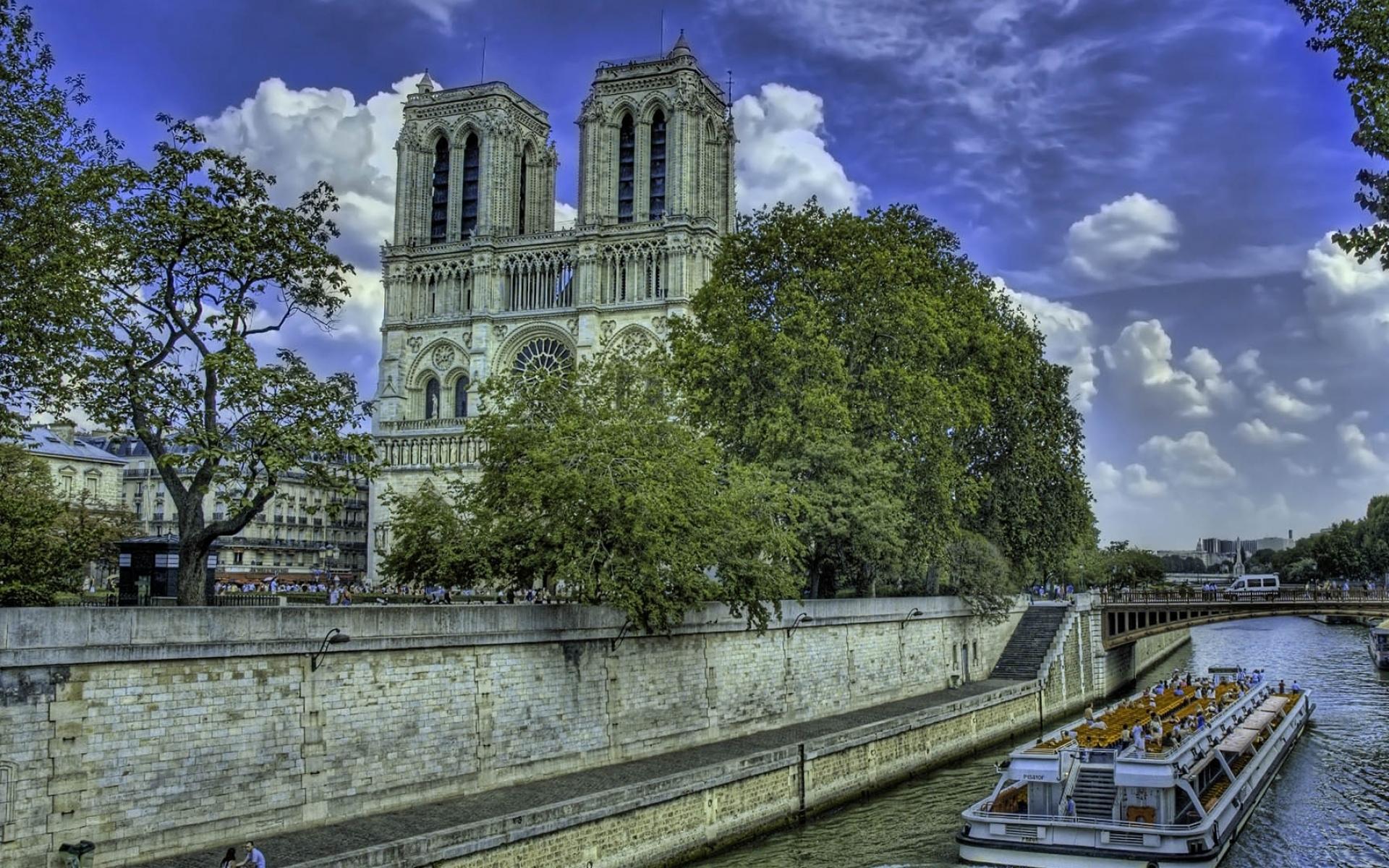 Картинки Notre dame de paris, paris, france, river, building, hdr фото и обои на рабочий стол