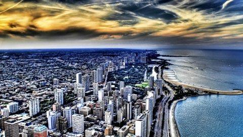 Чикаго, пляж, океан, здания, небоскребы, вид сверху, hdr
