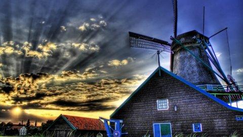 Мельница, небо, облака, трава, hdr