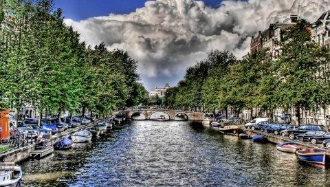 Река, лодки, небо, облака, hdr