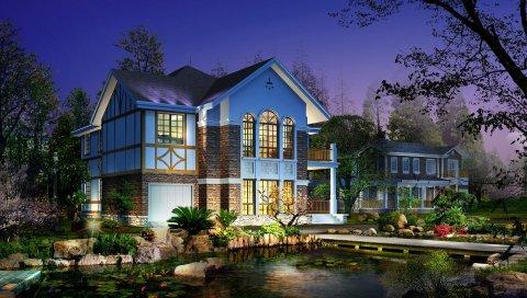Дом, двор, сад, вечер, свет, пруд, растительность, лилии