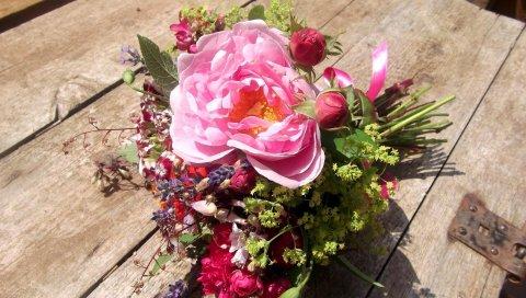 Розы, бутоны, пионы, цветок, лента, дерево