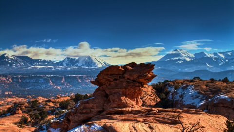 Каньон, камень, блок, небо, синий, высота, снег