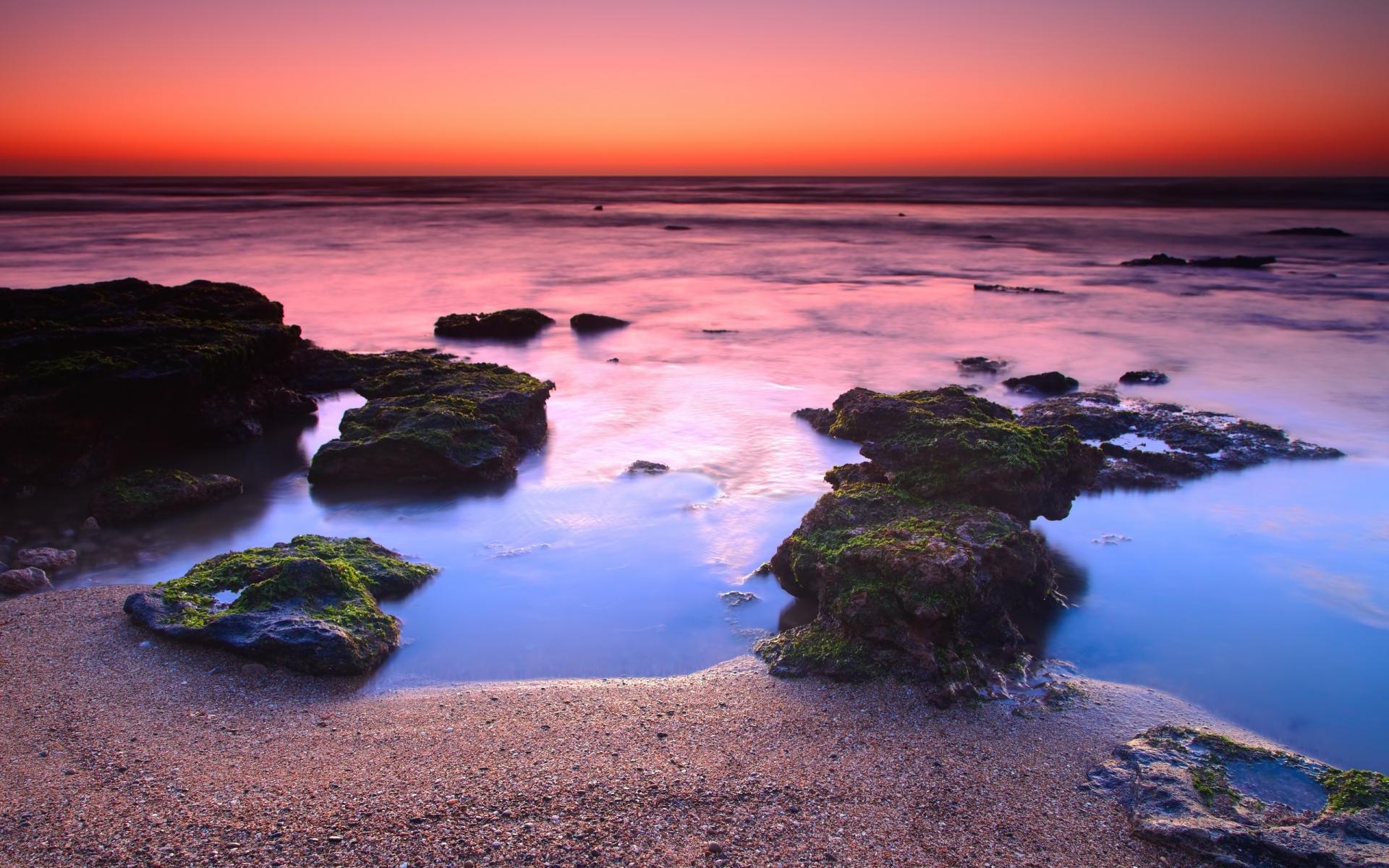 Картинки Берег, рифы, оранжевый, упад, горизонт, линия, мох, камни, песок, частицы, пар фото и обои на рабочий стол