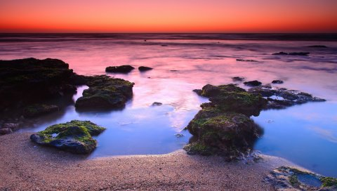 Берег, рифы, оранжевый, упад, горизонт, линия, мох, камни, песок, частицы, пар