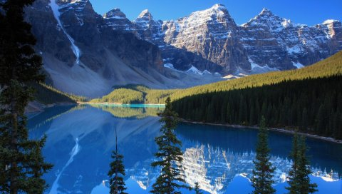 Озеро, горы, лес, лазурь, тени, прохладный, хвойный