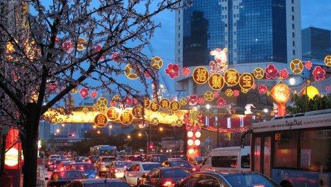Сингапур, праздник, китайский квартал, пробка, город, новый год