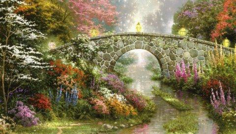 Мост, камень, арка, живопись, искусство, холст, цветы