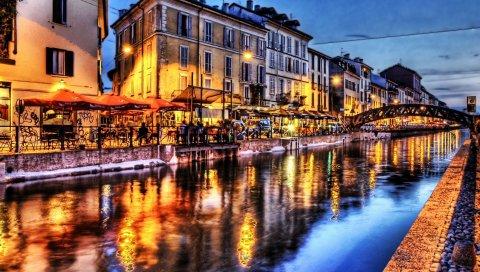 мост, река, кафе, свет, архитектура, пейзаж, HDR