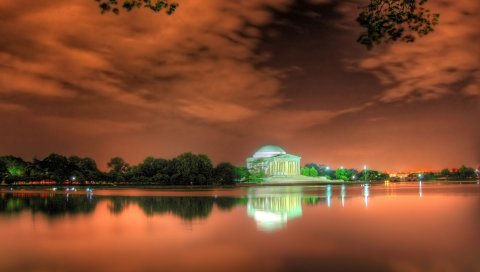 мемориал Джефферсона, Вашингтон, пляж, яркое