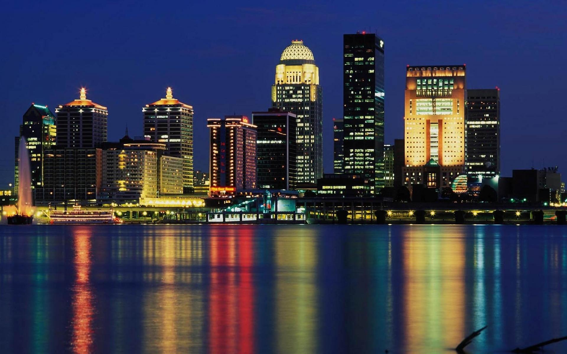 Картинки Луисвилл, горизонт, США,небоскреб, ночь, размышление, здания фото и обои на рабочий стол