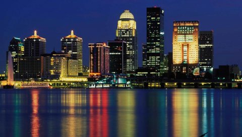 Луисвилл, горизонт, США,небоскреб, ночь, размышление, здания