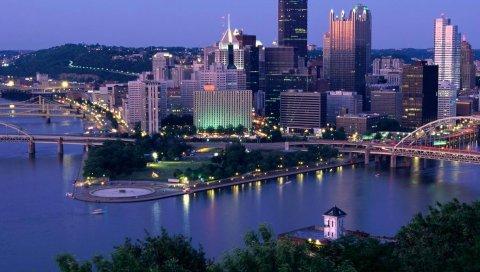 Пенсильвания, Питсбург, небоскребы, ночь, река, мост