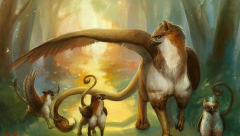 существо, семья, грифоны, лес, тропа