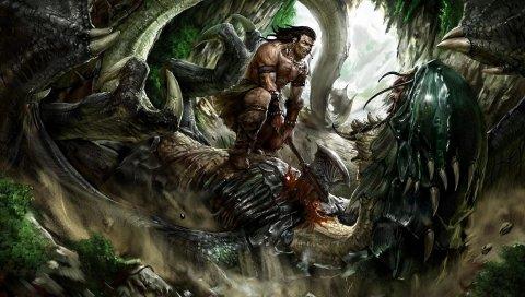 человек, воин, дракон, битва, оружие