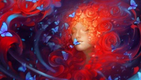 девушка, лицо, сон, бабочки, цветы