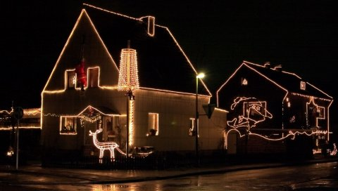 дом, Рождество, украшение, ночные