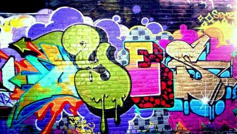 стен, граффити, красочные, знак