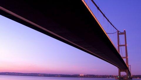 мост, море, океан, расстояние, свет, закат