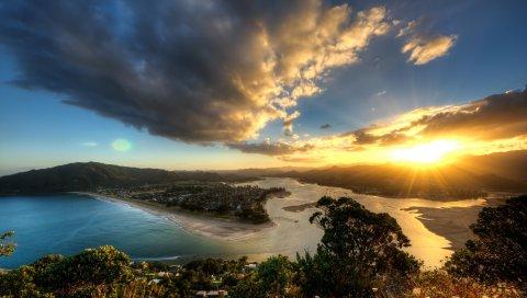 небо, закат, остров, земля, океан , солнце, свет, сверху, панорама, высота