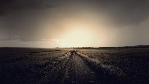 дорога, путь, неопределенность, горизонт, небо, серый, осень, грязь