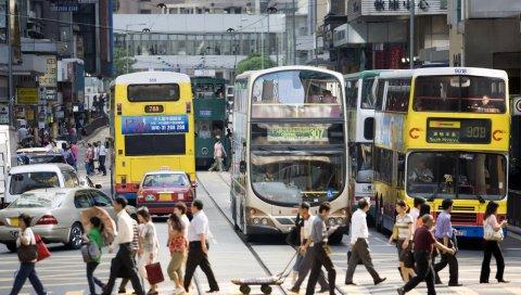 Китай, автобусы, улица, люди
