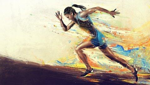 Девушка, спортсмен, бег, краска, смазанность