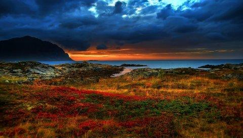 Побережье, закат, вечер, горы, растительность, разноцветные, разноцветные, цвета, контраст, ярко