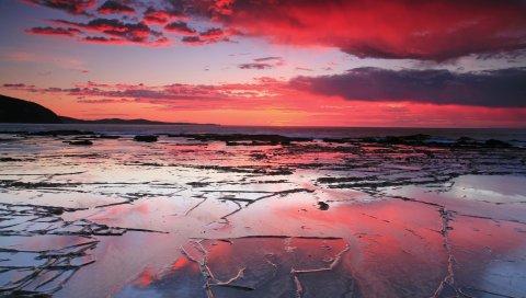 Песок, линии, узоры, побережье, отток, море, снижение, красный