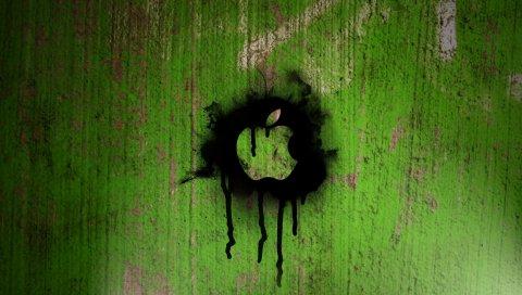 Стена, развод, зеленый, черный, мак, яблоко