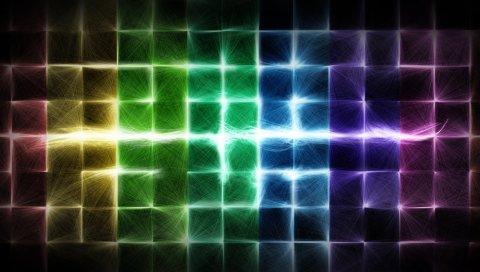 Красочные, клетки, свет, блеск, яркий
