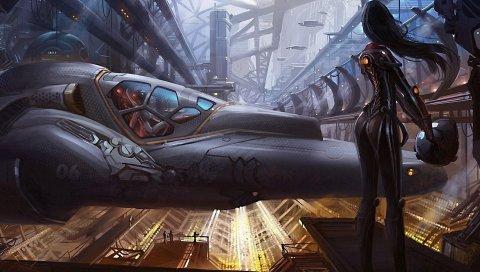Девушка, костюм, космический корабль, корабль