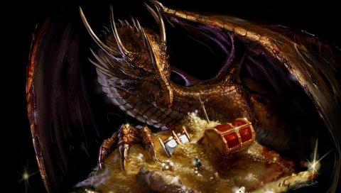 Дракон, сокровище, золото